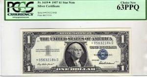 Fr.1619* $1 1957 STAR PCGS Choice New 63 PPQ