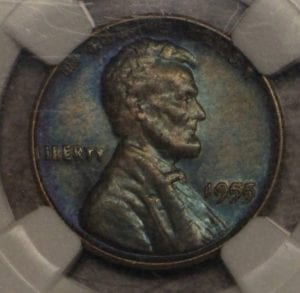 1955 Lincoln Cent Doubled Die Obverse NGC About Uncirculated 50 BN