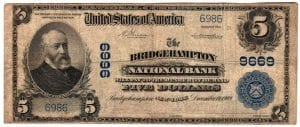 $5 1902 Plain Back The Bridgehampton National Bank Bridgehampton, NY CH# 9669