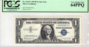Fr.1621* $1 1957 B STAR-A PCGS Very Choice New 64 PPQ