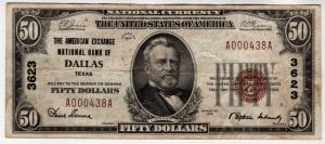$50 1929 The American Exchange National Bank of Dallas, Texas CH# 3623
