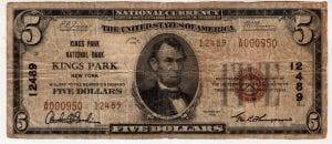 $5 1929 Kings Park National Bank Kings Park, New York CH# 12489