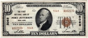 $10 1929 The First National Bank of Port Jefferson NY CH# 5068