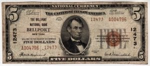 $5 1929 The Bellport National Bank of Bellport, NY CH# 12473