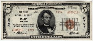 $5 1929 The First National Bank of Islip, New York CH# 8794