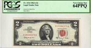 Fr.1514 $2 1963 A PCGS Very Choice New 64 PPQ