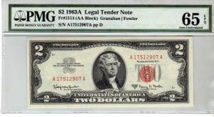 Fr.1514 $2 1963 A PMG GEM 65 EPQ