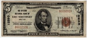$5 The Citizens National Bank of East Northport, New York CH# 12593