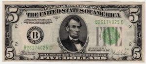 Fr.1959-B $5 1934 C New York Choice Uncirculated