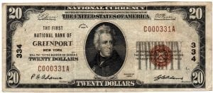 $20 1929 The First National Bank of Greenport, NY CH# 334