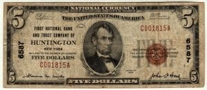 $5 1929 First National Bank and Trust Company Huntington, New York CH# 6587