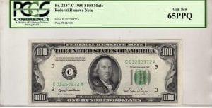 Fr.2157-C $100 1950 Philadelphia Mule PCGS GEM 65 PPQ