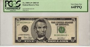 Fr.1989-G* $5 2003 Chicago STAR PCGS Very Choice New 64 PPQ
