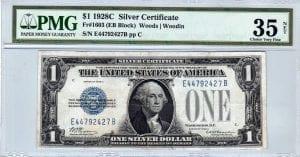 Fr.1603 $1 1928 C E-B Block PMG Very Fine 35 net