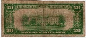$20 1929 First National Bank and Trust Company Huntington, New York CH# 6587