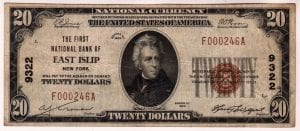 $20 1929 The First National Bank of East Islip, NY CH# 9322