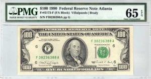 Fr.2173-F $100 1990 Atlanta PMG GEM 65 EPQ