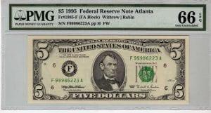 Fr.1985-F $5 1995 Atlanta PMG GEM 66 EPQ