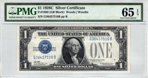 Fr.1603 $1 1928 C G-B Block PMG GEM Uncirculated 65 EPQ