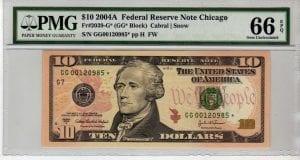 Fr.2039-G* $10 2004 A Chicago Star PMG GEM 66 EPQ