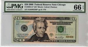 Fr.2094-G* $20 2006 Chicago STAR PMG  GEM 66 EPQ