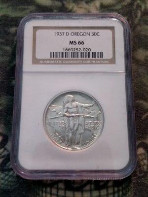 50 CENT 1937 D Oregon Trail  NGC MS 66
