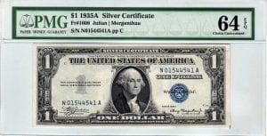 Fr.1608m $1 1935 A N-A Block Mule PMG Choice Uncirculated 64 EPQ