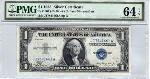 Fr.1607 $1 1935 J-A Block PMG Choice Uncirculated 64 EPQ