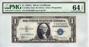 Fr.1608m $1 1935 A R-A Mule PMG Choice Uncirculated 64 EPQ