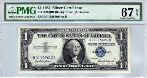 Fr.1619 $1 1957 B-B Block PMG Superb GEM Uncirculated 67 EPQ
