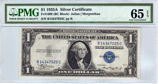 Fr.1608 $1 1935 A B-C Block PMG GEM Uncirculated 65 EPQ