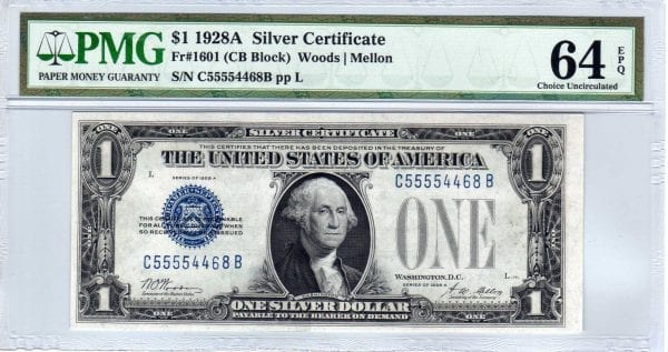 Fr.1601 $1 1928 A C-B Block PMG Choice Uncirculated 64 EPQ