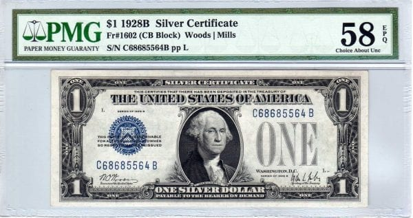 Fr.1602 $1 1928 B C-B Block PMG About Uncirculated 58 EPQ