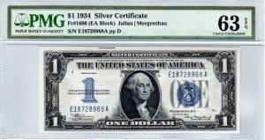 Fr.1606 $1 1934 E-A Block PMG Choice Uncirculated 63 EPQ
