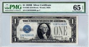 Fr.1602 $1 1928 B E-B Block PMG GEM Uncirculated 65 EPQ