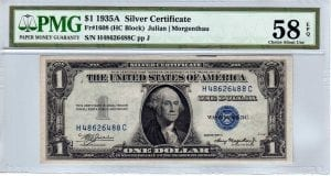 Fr.1608 $1 1935 A H-C Block PMG Choice About Uncirculated 58 EPQ