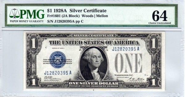Fr.1601 $1 1928 A J-A Block PMG Choice Uncirculated 64