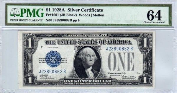 Fr.1601 $1 1928 A J-B Block PMG Choice Uncirculated 64