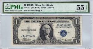 Fr.1611 $1 1935 B J-D Block PMG About Uncirculated 55 EPQ