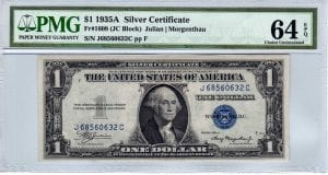 Fr.1608 $1 1935 A J-C Block PMG Choice Uncirculated 64 EPQ