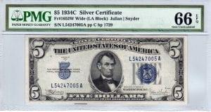 Fr.1653W $5 1934 C L-A Block Wide PMG GEM Uncirculated 66 EPQ