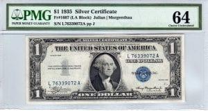 Fr.1607 $1 1935 L-A Block PMG Choice Uncirculated 64