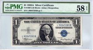 Fr.1608 $1 1935 A L-B Block Choice About Uncirculated 58 EPQ
