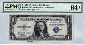 Fr.1608 $1 1935 A N-C Block PMG Choice Uncirculated 64 EPQ