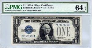 Fr.1601 $1 1928 A P-A Block PMG Choice Uncirculated 64 EPQ