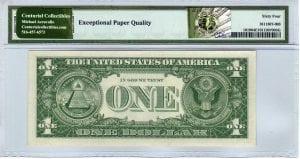 Fr.1619 $1 1957 T-A Block PMG Choice Uncirculated 64 EPQ