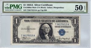 Fr.1608m $1 1935 A T-A Block Mule PMG About Uncirculated 50 EPQ