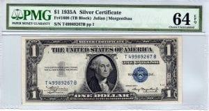 Fr.1608 $1 1935 A T-B Block PMG Choice Uncirculated 64 EPQ