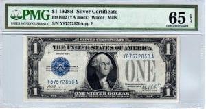 Fr.1602 $1 1928 B Y-A Block PMG GEM Uncirculated 65 EPQ