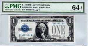 Fr.1602 $1 1928 B Z-A Block PMG Choice Uncirculated 64 EPQ